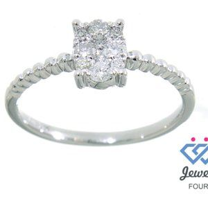Cluster Diamond Stackable Ring Jewelry White Gold